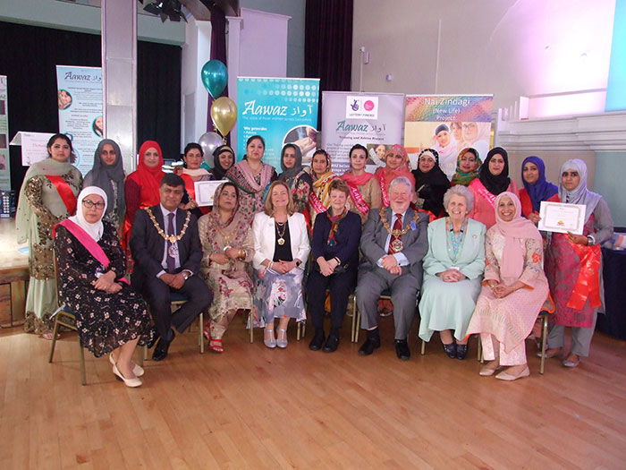 Aawaz team with the Mayor and Mayoress of Hyndburn, Mayor and Mayoress of Pendle, County Council Chairman Ann Cheetham and Aawaz Patron Jean Battle